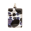 Black and Blue Aventurina with Silver Colors 20x30mm Pendant W/Bail, Murano Fused Glass