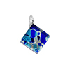Aqua, Cobalt and Aventurina Square Fused Murano Glass Pendant in a Diamond Dangle