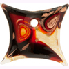 Lampwork Pendant Square 55x50 Murano Label Red & Black