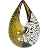 Authentic Murano Glass Lampwork Teardrop Pendant Vicenza, Black Gold, Silver and Clear Cubic Zirconia
