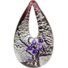 Authentic Murano Glass Lampwork Teardrop Pendant Sterling Silver Foil and Purple Cubic Zirconia