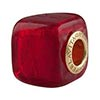 Murano Glass Bead, Red Gold Foil Vermeil Insert Large Hole Cube 14x10mm