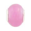 Pink Pearl Large Hole Bead 4.5mm Murano Glass Silver Insert