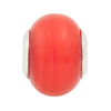 Lantern Red Large Hole Bead 4.5mm Murano Glass Silver Insert