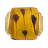 PerlaVita LaCrima Murano Glass Cylinder Bead Topaz w/ Gold 5mm Hole Gold Toned
