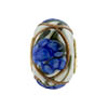 Blue Peony Spring Flowers Rondel PERLAVITA Vermeil Authentic Murano Glass Bead