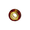 PerlaVita Fenicio Murano Glass Rondel, Red & Gold, 5mm Hole, Vermeil Smaller Size