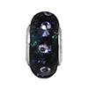 Cubic Zirconia and Black Silver Sparkler Skinny Dichroic Murano Glass Rondel 14x8 Sterling Insert