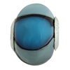 Blue Shades Striped Large Hole Bead 4.2mm Murano Glass Silver Insert
