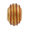 PERLAVITA Spirale Murano Glass Charm Bead, Clear & Gold w/Red, Gold Plate