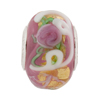 Pink Opalino Serenissima Large Hole Rondel Sterling Insert, 14x8mm Murano Glass Charm Bead
