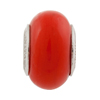 PERLAVITA Opaque Red Murano Glass Charm Bead, Sterling