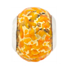 Large Hole Bead 4.5mm Murano Glass Silver Insert, Gold and Orange