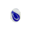 Large Hole Bead 4.5mm Murano Glass Silver Insert, White & Lapis