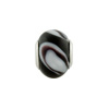 Large Hole Bead 4.5mm Murano Glass Silver Insert, Black & White