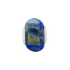Large Hole Bead 4.5mm Murano Glass Silver Insert, Pin Wheel Rondel, Gold Blue