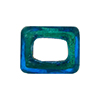 Large Hole Rectangular Bead for Regaliz, Aqua 24kt Gold Foil