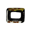 Large Hole Rectangular Bead for Regaliz, Black Luna Gold and Silver Foil
