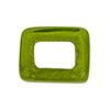 Large Hole Rectangular Bead for Regaliz, Peridot Green over White Gold Foil