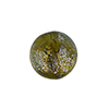 Murano Glass Bead 14mm Dichroic Silver Shimmers Olive Gold Foil Round