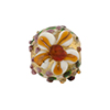 Murano Glass Bead Lampwork Flower Bead 16mm Gold & Topaz