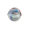 Amethyst and Aqua White Gold Foil Machiavelli Venetian Glass Bead , Round 16mm