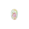 Pale Green Fiorato Rondelle 13x8mm 2mm Hole, Murano Glass Bead