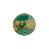 16mm Round Spruce Green with Reticello and 24kt Gold Foil Murano Glass Bead