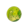 Sole Murano Glass Bead, Greens & Gold Foil Swirl, 18mm Round