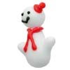 Lampwork Murano Glass Snowman Bead, White w/Red Side Hat, 28mm