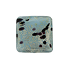 Ca'd'oro White Gold Foil Turquoise Murano Glass Sparkles 16mm Square