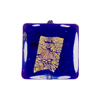 Cobalt Blue Luna Square 20mm, Murano Glass Bead with Gold, Silver & Aventurina