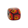 Mosaic Patterned Murano Glass Bead, 16mm Cube, Red & Black