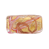Murano Glass Bead Monet Rectangle 25x12 Gold Foil Rubino Pink