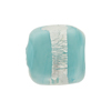 Aqua Incalmo Rectangles Silver Foil Band 18mm Murano Glass Bead