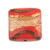 Reticello Square Coral with Gold and White Reticello, 24mm Murano Glass Bead
