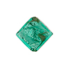 Murano Glass Bead Silver/Aventurina Diamond 17mm Sea Green