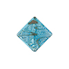 Murano Glass Bead Silver/Aventurina Diamond 17mm Aqua
