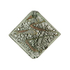 Murano Glass Bead Silver/Aventurina Diamond 25mm, Gray