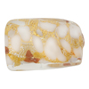 Murano Glass Bead White Gold Foil Twisted Rectangle 22x16