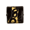 Venetian Glass Bead Gold Loops Black Square 20mm