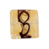 Venetian Glass Bead Black Loops Clear 24kt Gold Foil Square 20mm