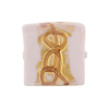 Venetian Glass Bead Gold Loops Opaque Pink Square 20mm