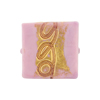 Venetian Glass Bead Gold Loops Opaque Dark Pink Square 20mm