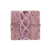 Venetian Glass Bead Pink Loops Amethyst White Gold Foil Square 20mm
