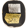 Black Vicenza Gold and Silver Splashes Foil Cushion Rectangle 35x30mm, Murano Glass Bead
