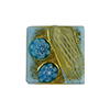 Zanfirico Millefiori with Gold Foil Turquoise Murano Glass 16mm Square