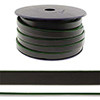 Flat Leather 10x1.5mm Black with Green Per Foot