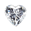 Cubic Zircona Heart Shaped Stone 9mm (No Hole), Clear Crystal
