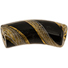 Reticello Curved Tube Opaque Black with Gold and White Reticello, 50mm by 17mm